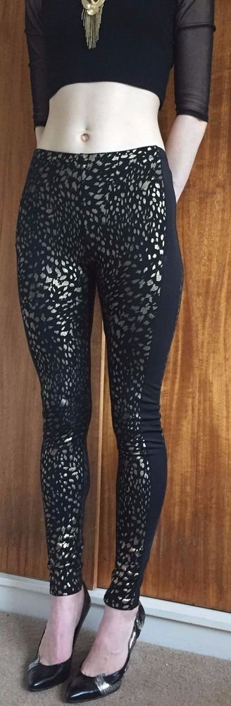 80s metallic gold and black animal print and panel leggings indie vintage retro