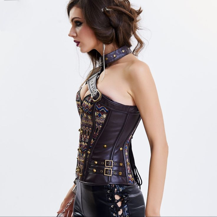 Brown Leather Armor Sexy Corsets And Bustiers Steel Bone Vintage Steampunk  Corset Gothic Clothing Burlesque Korsett For Women aa1e6bf9ba9d