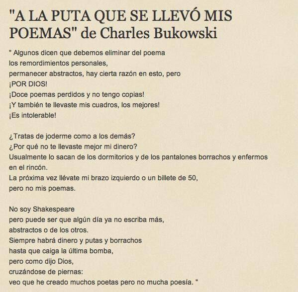 Poemas De Charles Bukowski Sobre El Amor Pin En Bukowski