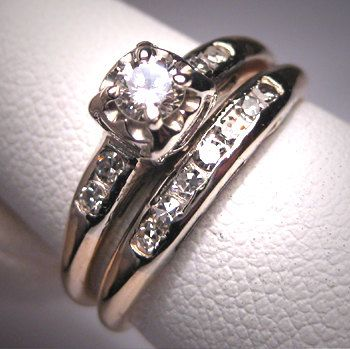 antique diamond wedding ring set vintage art deco14k - Vintage Wedding Ring Set