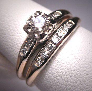 Antique Diamond Wedding Ring Set Vintage Art Deco14K Diamond