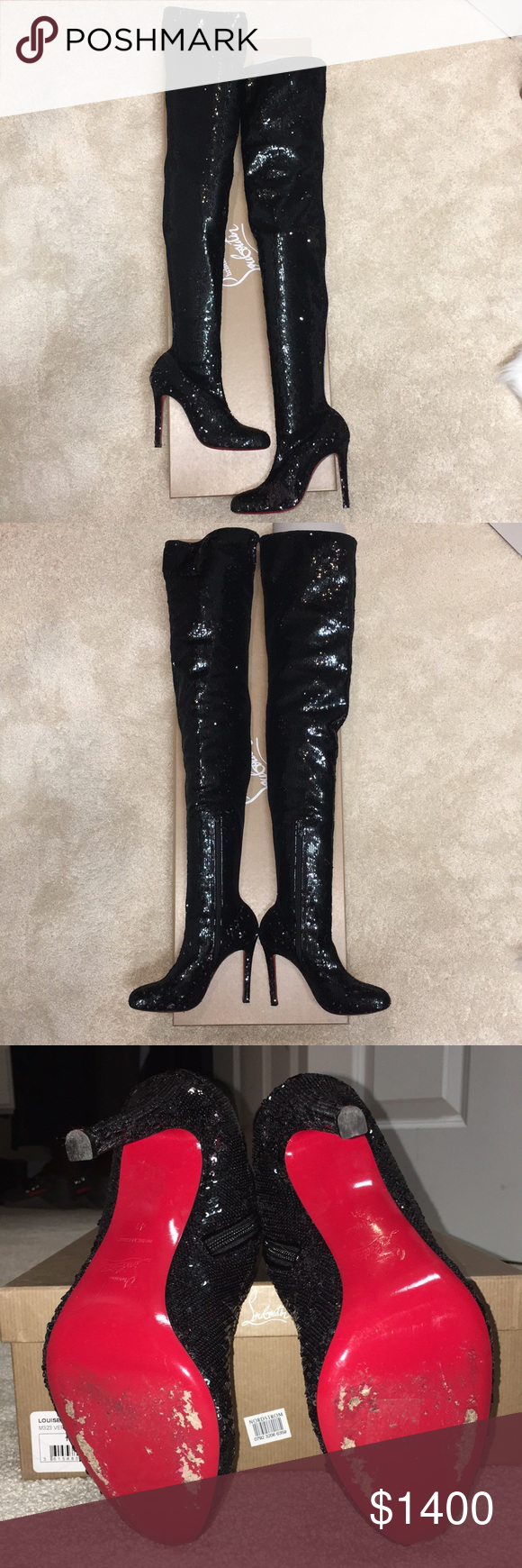 8c5f365729d Christian Louboutin Louise thigh high sequin boots Louboutin Louise 100  thigh high sequin boots. Color changes from black to a gunmetal silver when  brushed ...