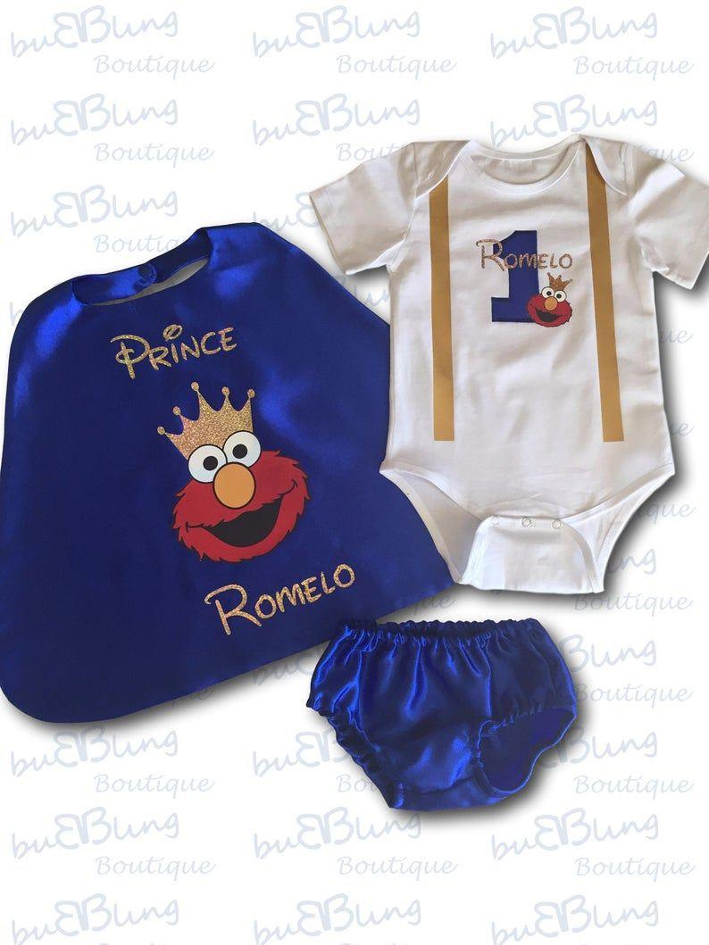 Tenue premier anniversaire bébé garçon Prince Elmo First