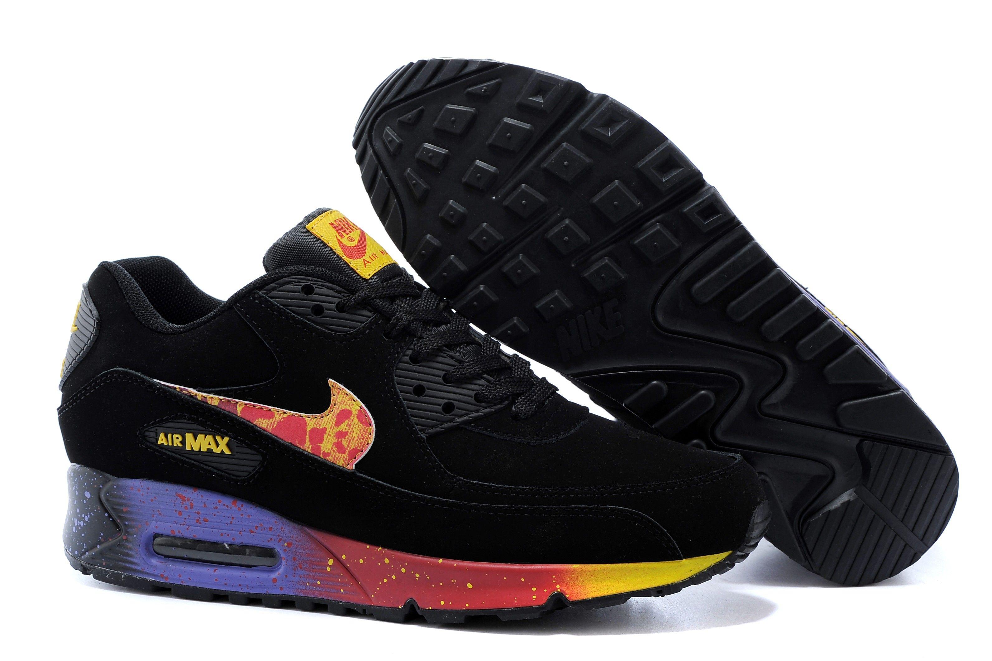 separation shoes 96e51 c6497 italy acheter nike air max édition limitée en cuir nubuck noir jaune violet  rose e46f3 e6d9d