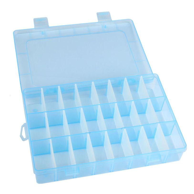 HAICAR 새로운 실용적인 조정 플라스틱 24 구획 저장 상자 케이스 구슬 반지 보석 디스플레이 주최자 25UY