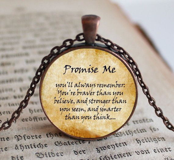 Promise Me Pooh Quote Necklace Pendant Jewelry by NeedfulObjects