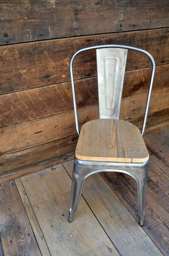 Custom Reclaimed Wood Seat Tolix Style Side Chairs  Side Chair Alluring Custom Dining Room Chair Cushions Review