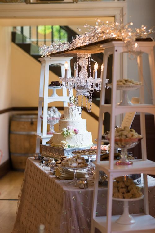 Dessert Table Chandelier Ladders Cathedral Of The Blessed Sacrament Wedding Sacramento Wedding Dessert Table Decor Wedding Dessert Table Dessert Bar Wedding