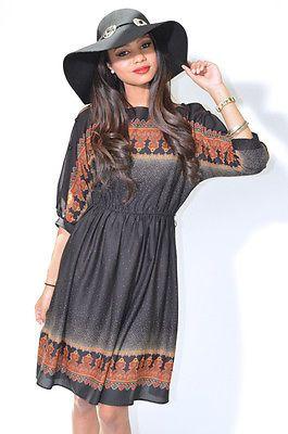 Vtg 70s Hippie Boho Festival Gypsy Kimono MIDI Dress Semi Sheer   eBay