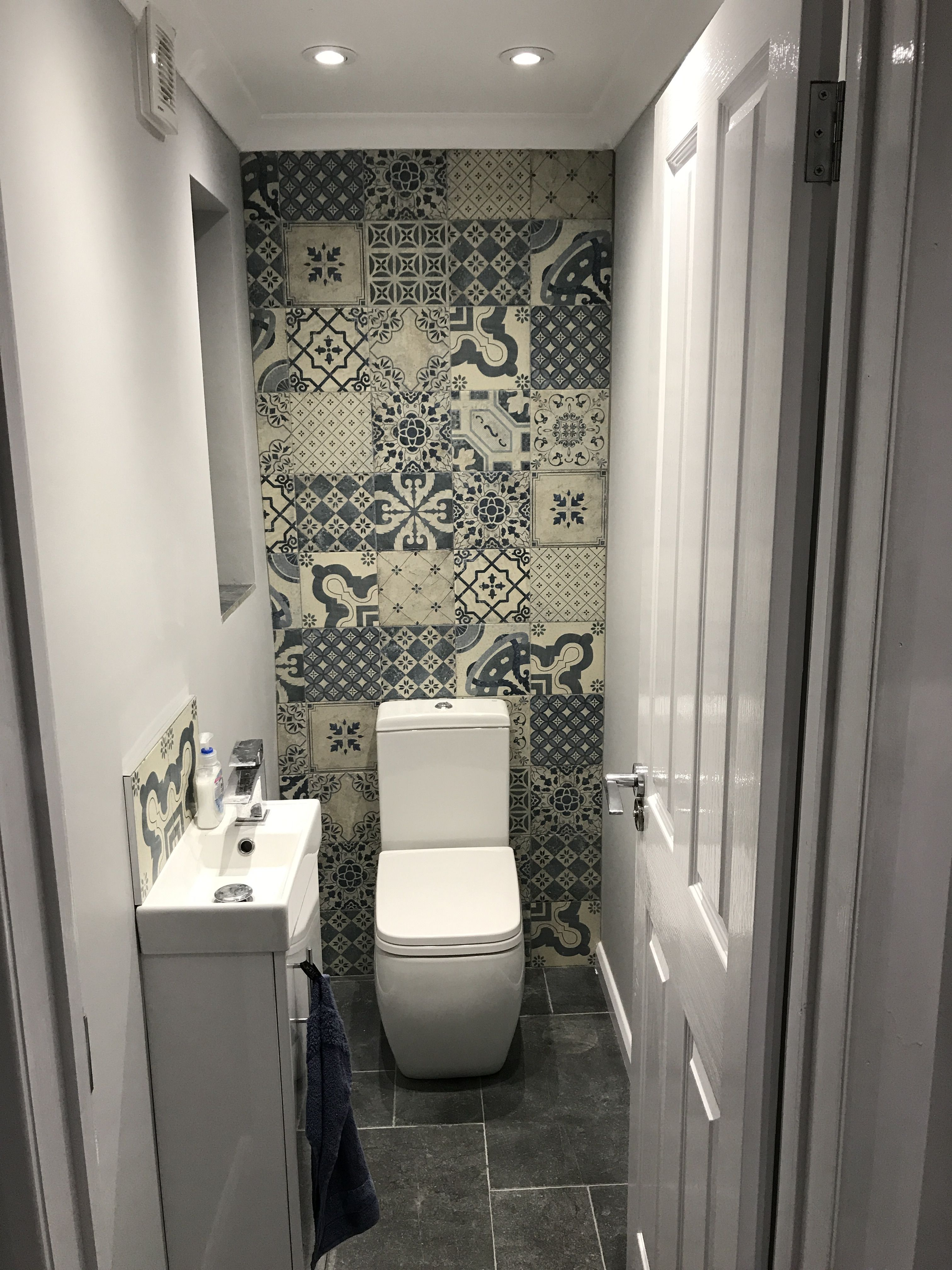 Downstairs Wc Blue Marrakesh Tiles Feature Tile Wall Small Toilet Space Grey And Blue Refurb