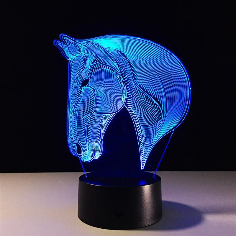 Horse Head 3d Illusion Lamp Led Night Light 3d Acrylic Discoloration Colorful Gradient Atmosphere Lamp Novelty Li Horse Lamp 3d Led Night Light Led Night Light