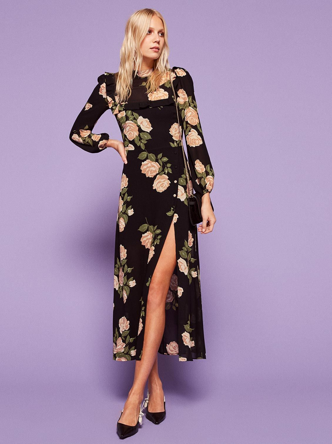 97d46749fbea Black and pink floral print ethically made by Reformation. Perfect for a  spring or summer
