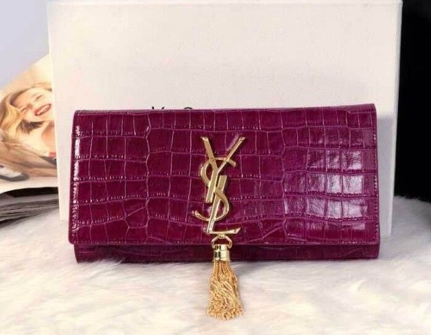 12014 Cheap Ysl clutch crocdile in purple 6e962d1319a74