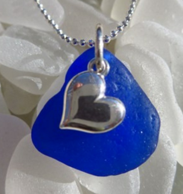 Cobalt blue glass with sterling silver heart necklace by Nancy Allen