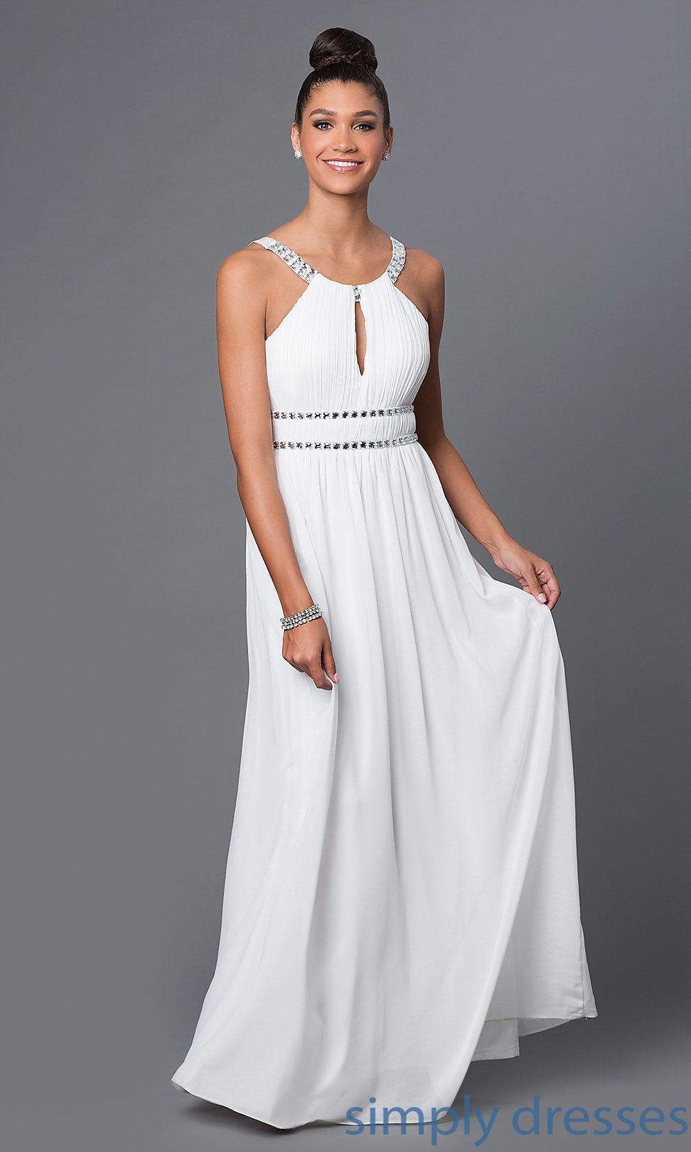 Shop beaded ivory Grecian style floor length gowns at SimplyDresses ...