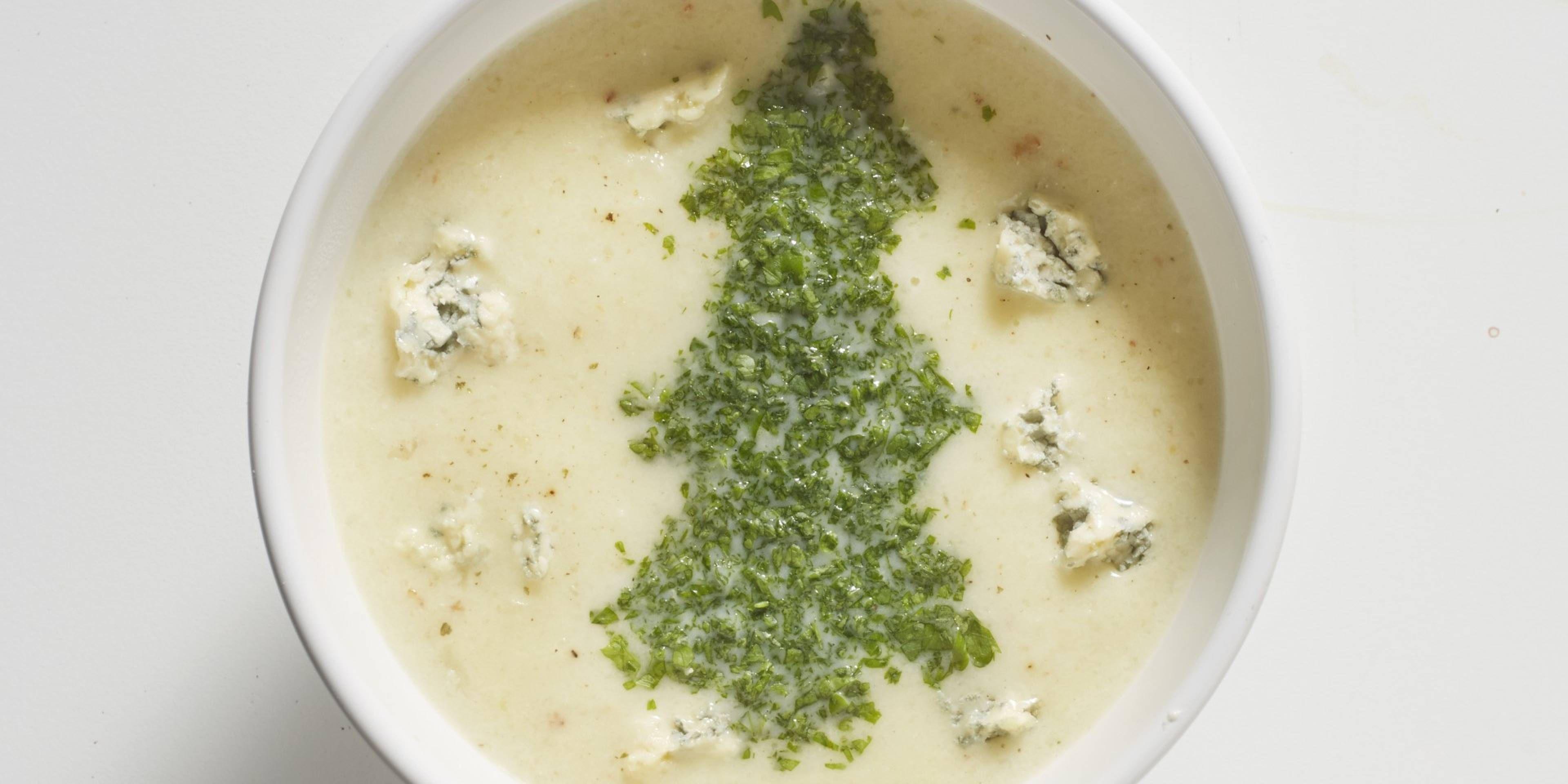 Boodschappen - Soep van geroosterde bloemkool met blauwe kaas