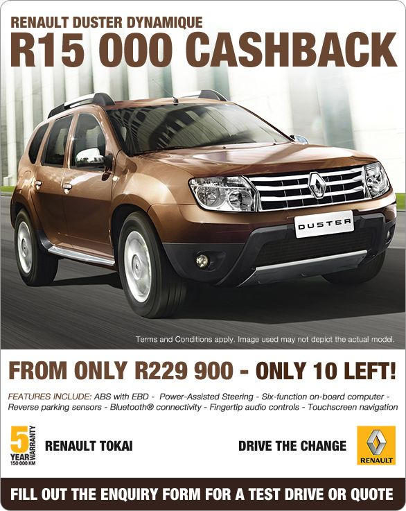 Receive R15 000 cashback when you purchase a New Renault Duster ...