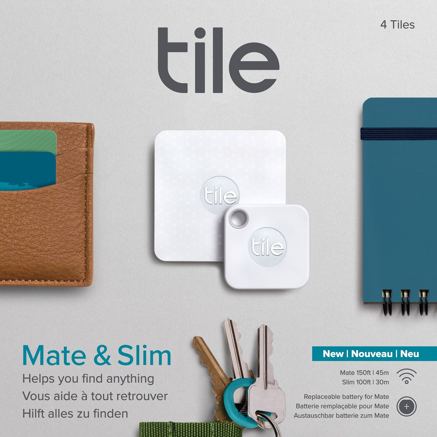 NEW 4 pack Tile Mate with Replaceable Battery