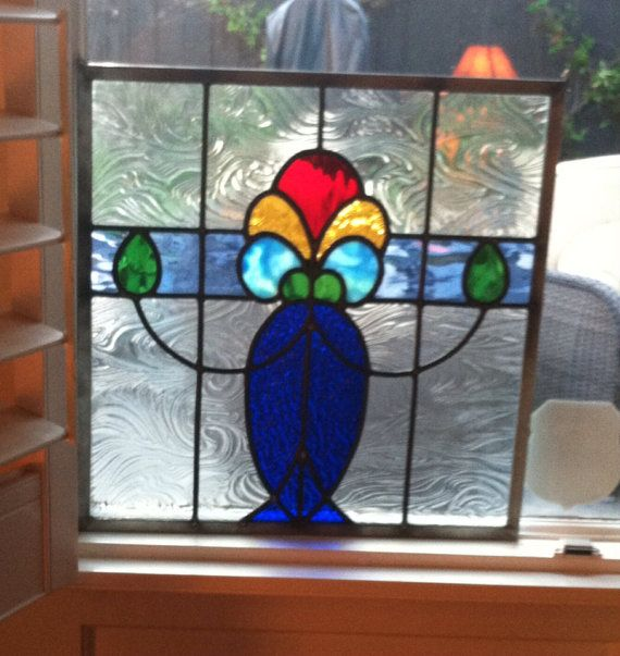 Stained Glass Panel Deco-ish Cobalt Vase with Flowers on Etsy, $120.00