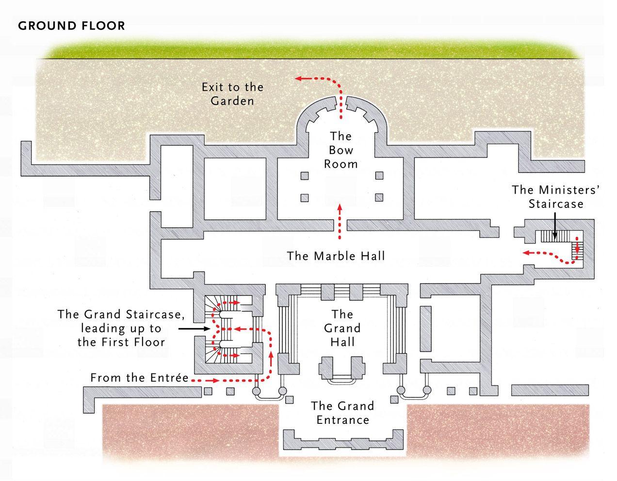 Basic Plan Of The Ground Floor At Buckingham Palace Buckingham Palace Floor Plan Buckingham Palace London Buckingham Palace
