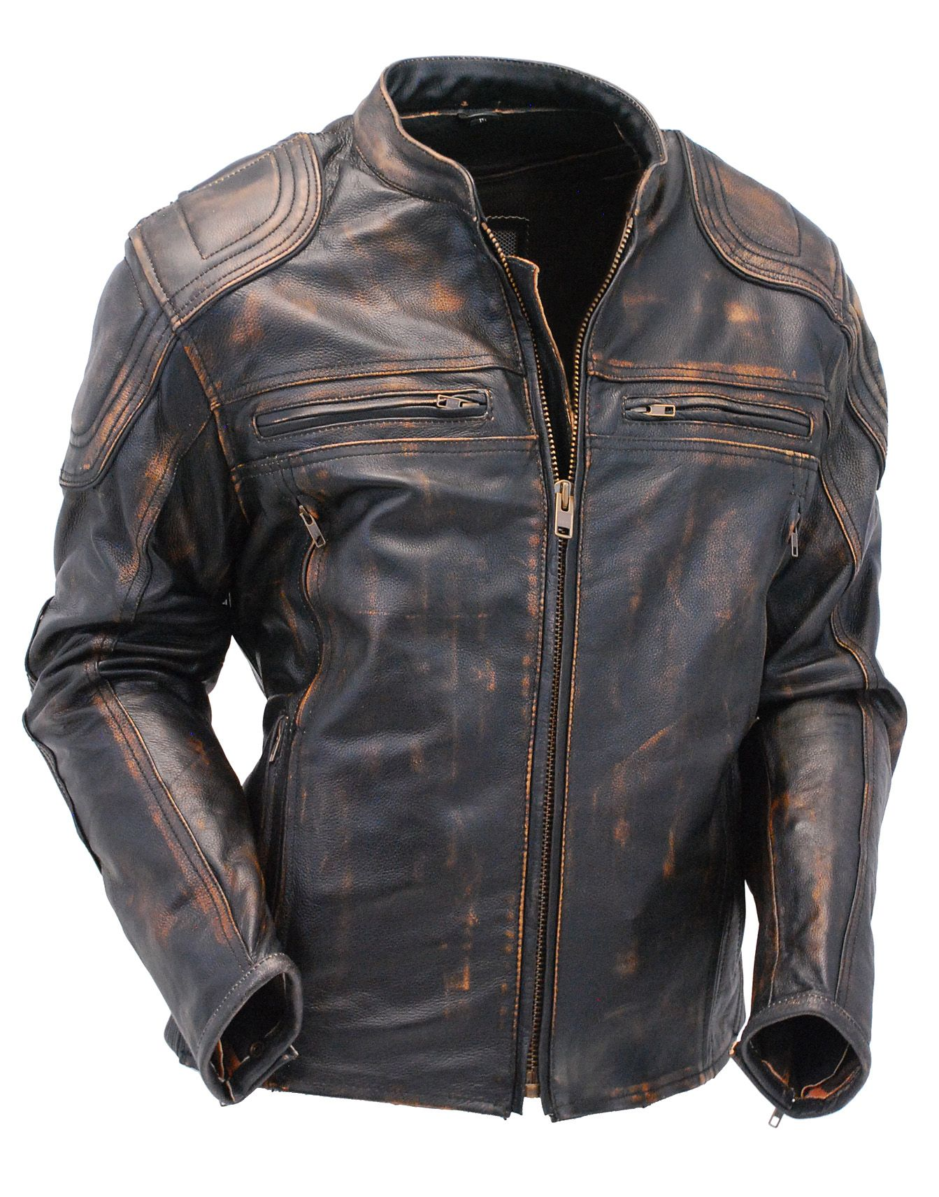 Men S Ccw Vented Vintage Brown Leather Racer Jacket W Reflectors Ma6611vzgn Leather Jacket Men Style Leather Jacket Best Leather Jackets [ 1712 x 1343 Pixel ]