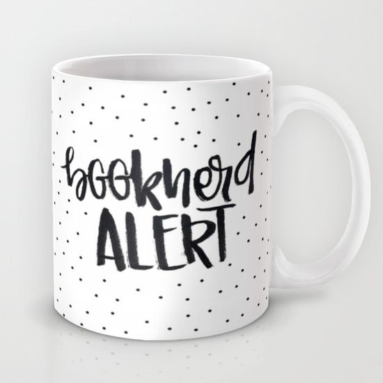 Booknerd Alert (black and white) Mug by AliceInWonderbookland - $15.00