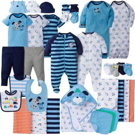 Newborn Baby Boy Set 20 Piece Layette Baby Shower Gift Blue Soft Cotton Outfit