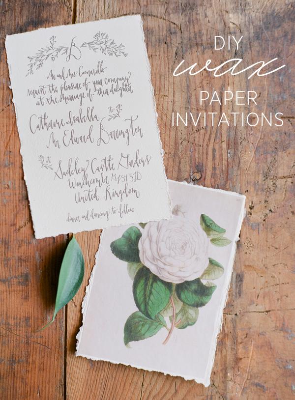 DIY Wax Paper Wedding Invitations   Once Wed