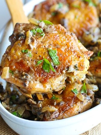 Crispy and tender Chicken thigh with mushroom, onion and garlic sauce- ready in under 30 minutes.