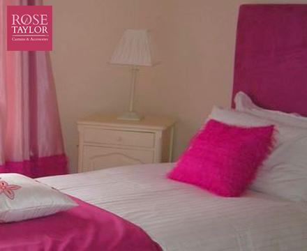 Pink custom made headboard and soft furnishings. www.rosetaylorcurtains.com
