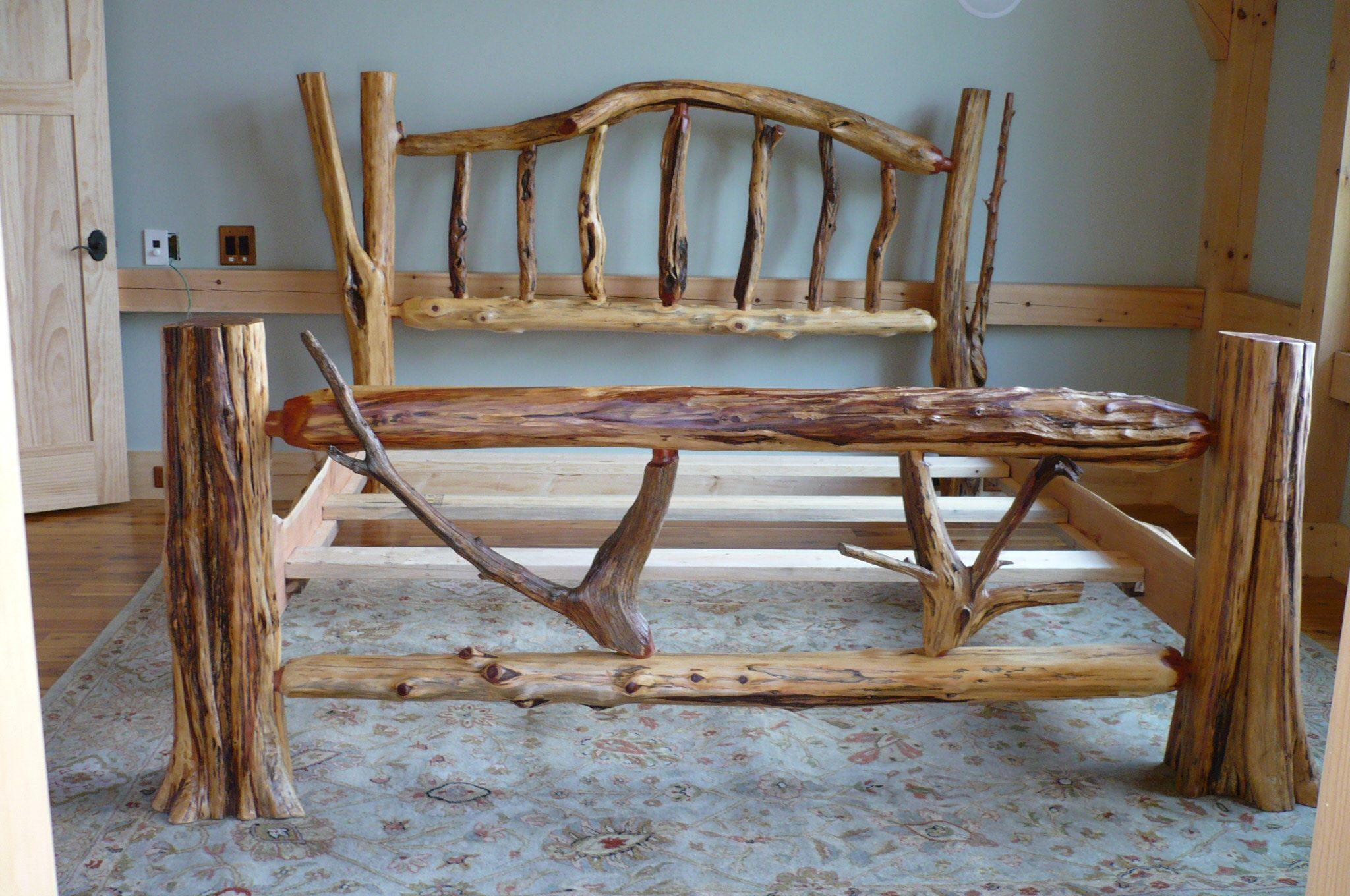 Rustic Log Beds Rustic wood furniture, Log home