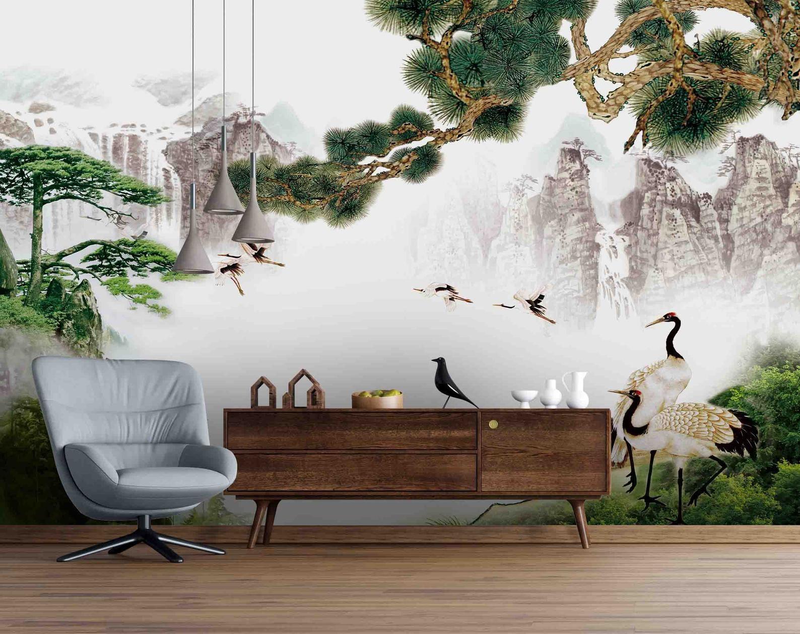 3d Chinese White Crane Pine Tree Wallpaper Mural Peel And Etsy Tree Wallpaper Mural Tree Wallpaper Mural Wallpaper