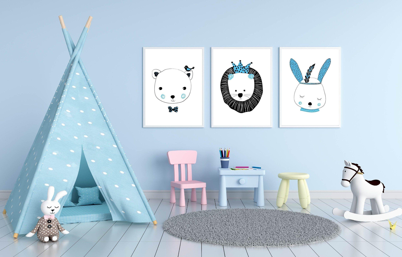 Beautiful blue wild animal designs for boys cute