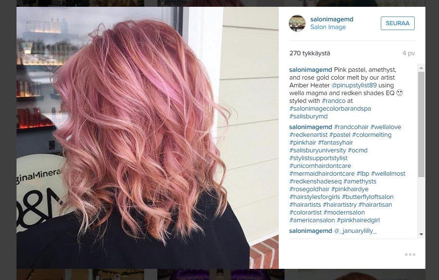 Ruusukulta+hurmaa+hiuksissa+-+tämän+hetken+kuumin+hiusväritrendi