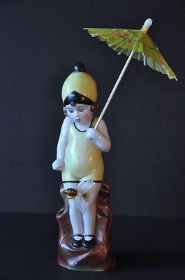 Porcelain Vintage Child Hatpin Holder Flower Frog Half Doll Figurine | eBay