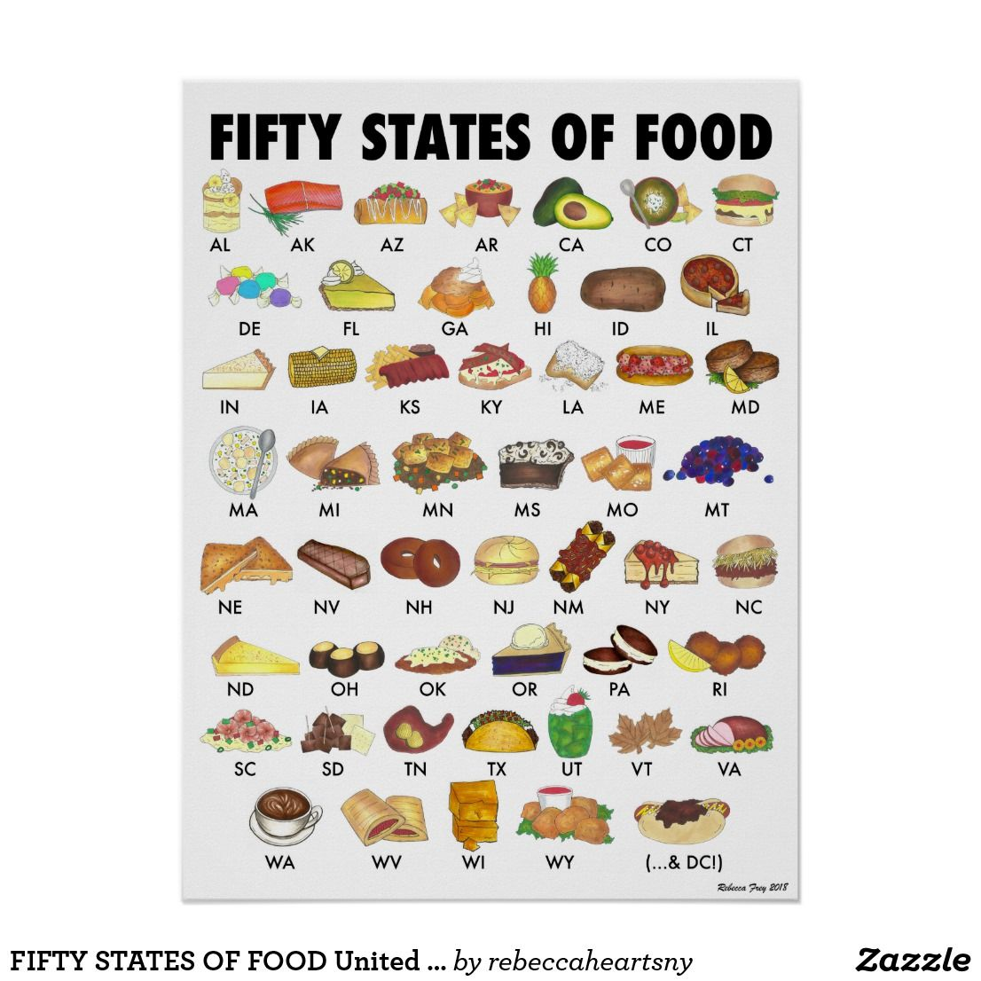 FIFTY STATES OF FOOD United States America USA Art Poster