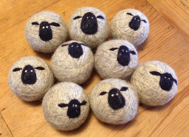 Look Lynn - you can decorate them! Sheepy wool dryer balls.