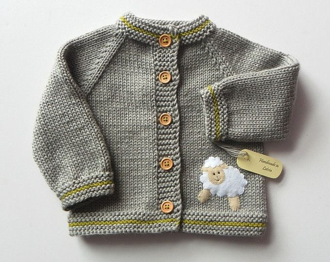 stricken kinder jacke mit wei en schafe grau baby merino pullover made to order schaf. Black Bedroom Furniture Sets. Home Design Ideas