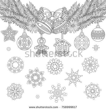 Christmas Coloring Page With Holiday Ornaments Fir Tree Jingle Bells And Vintage Snowflakes Freehand Sketch Drawing For 2018 Happy New Year Greeting Card