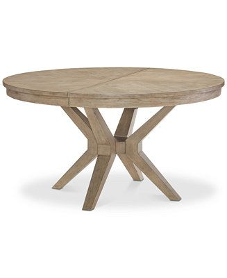Furniture Bridgegate Round Expandable Dining Trestle Table & Reviews - Furniture - Macy's
