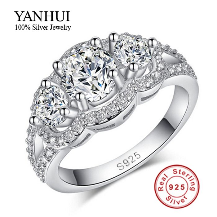 Purity Silver Wedding Rings For Women 925 Sterling Crystal Simulated Diamant