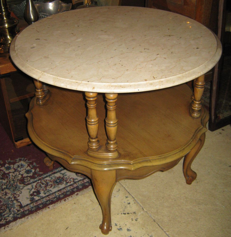 Vintage Heritage French Style Marble Topped Round 2 Tier End Side Accent Table Table Refinishing Furniture Marble Top