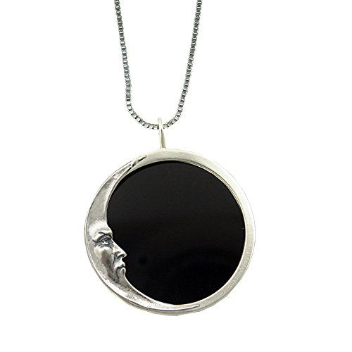 Stunning black onyx and sterling silver scrying pendant with a stunning black onyx and sterling silver scrying pendant with a mystical moon made in america aloadofball Image collections