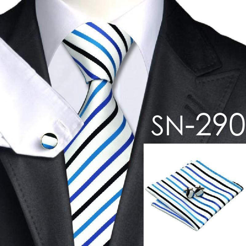 SN-290 White Black Dodgerblue Striped Tie Hanky Cufflinks Sets