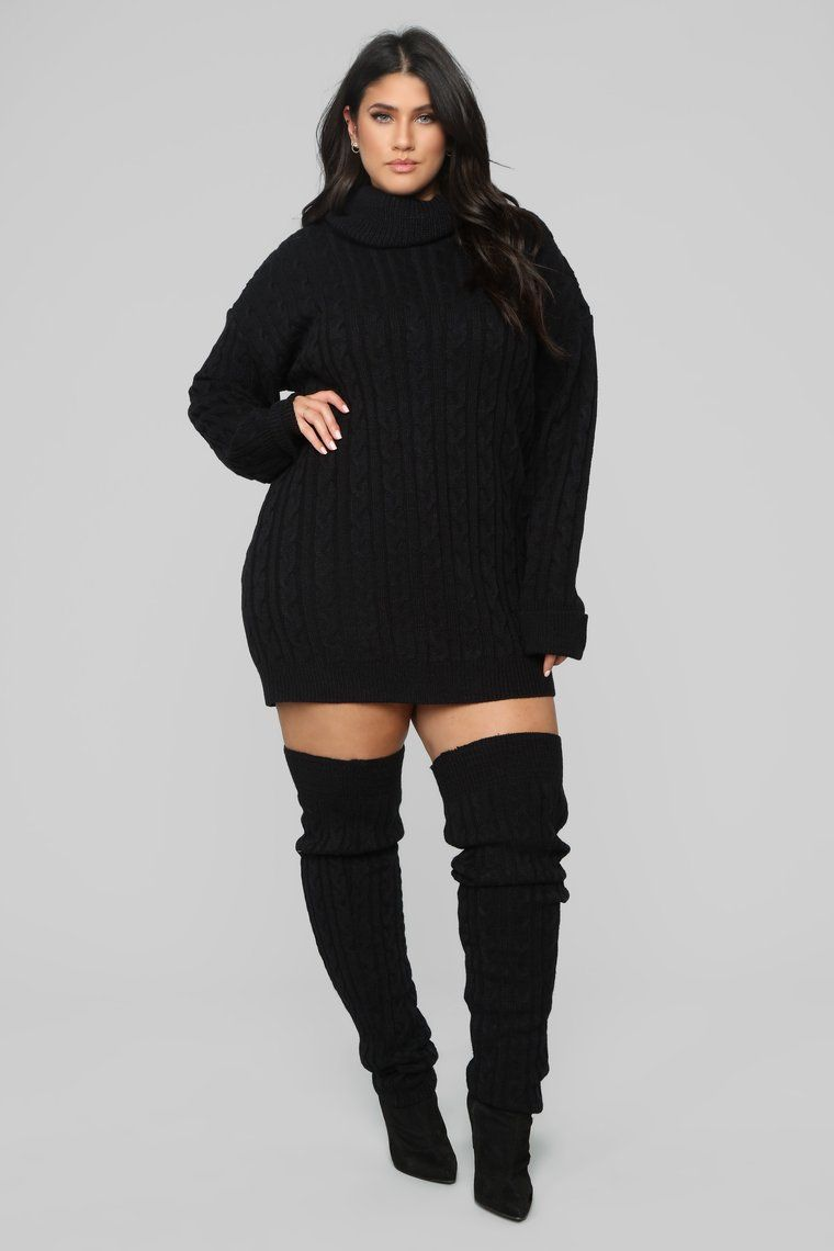 aa8e1c46e25 Cammie Leg Warmer Sweater Dress Set - Black in 2019