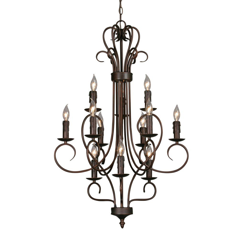 Golden Lighting Centennial 12 Light 3 Tier Chandelier Bronze Gl 8512 Rbz