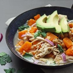 Low carb and gluten free, this pumpkin chicken chili is also a great vehicle for leftover turkey!