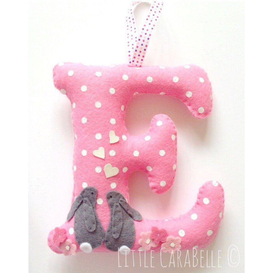 Hanging Initial Bunnies Spots Polka Dots Nursery Decor Blush Personalised