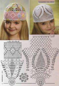 детские летние шапочки крючком со схемами для девочек вязание