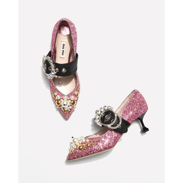 3bc444ed849 Miu Miu Glitter Buckle 55mm Pump ❤ liked on Polyvore featuring shoes